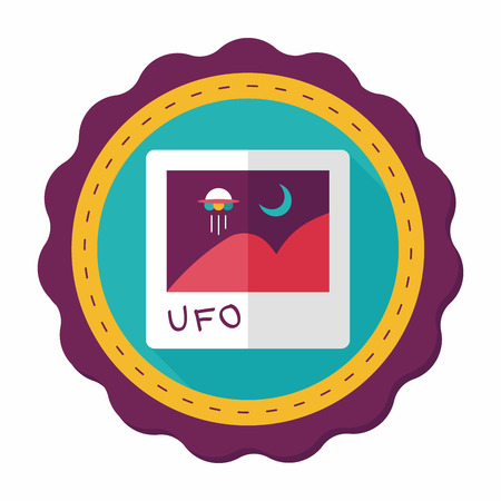 invaders: Space UFO photo flat icon with long shadow, eps10