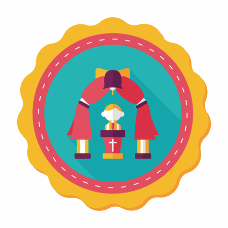 be married: wedding ceremony flat icon with long shadow,eps10