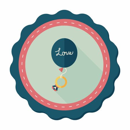 diamond rings: wedding balloons with diamond rings flat icon with long shadow,eps10 Illustration