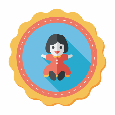tot: girl doll toy flat icon with long shadow,eps 10