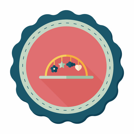 hanging toy: Baby crib hanging toy flat icon with long shadow,eps10