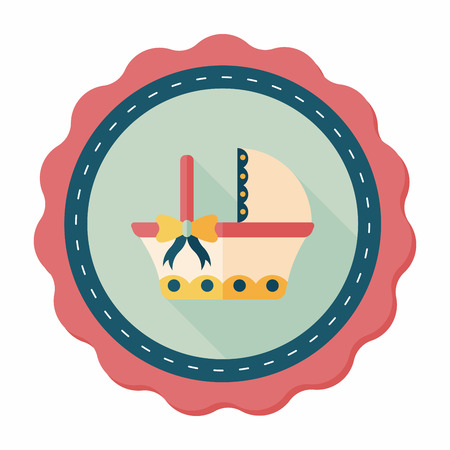 babysitting: baby cradle bed flat icon with long shadow,eps10