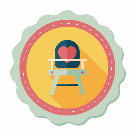high chair: Icono plana Silla de Beb� con una larga sombra