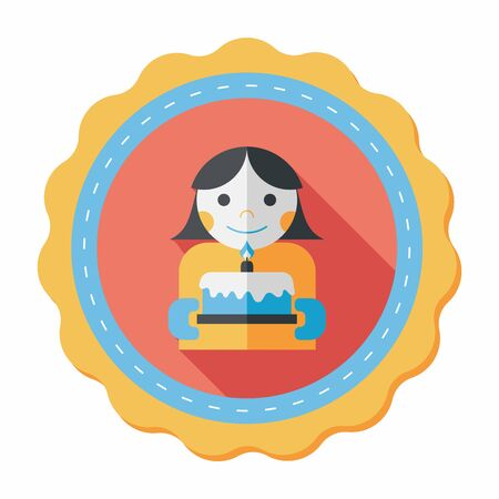happy birthday girl: happy birthday girl flat icon with long shadow,eps10