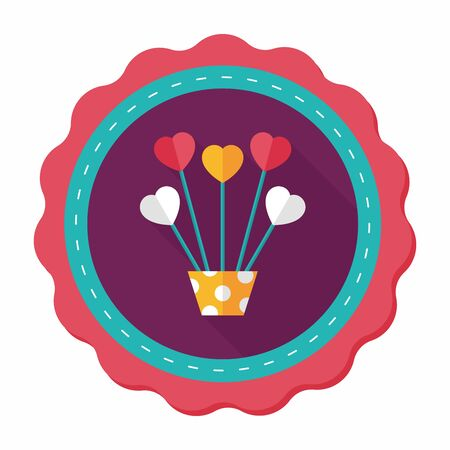 heart flower: Heart flower flat icon with long shadow Illustration