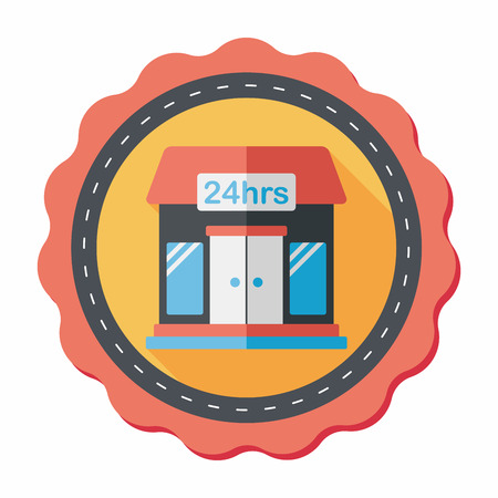 store icon: Building convenient store flat icon with long shadow,eps10