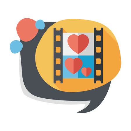 videographer: Wedding film flat icon with long shadow