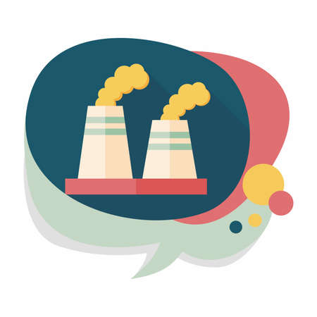 polluting: Environmental protection concept flat icon with long shadow