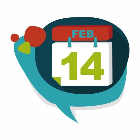 fourteen: Valentines Day February fourteen flat icon with long shadow,eps10 Illustration