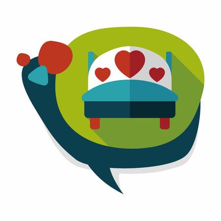pareja en la cama: pareja de novios Cama icono plana con una larga sombra, eps10 Vectores