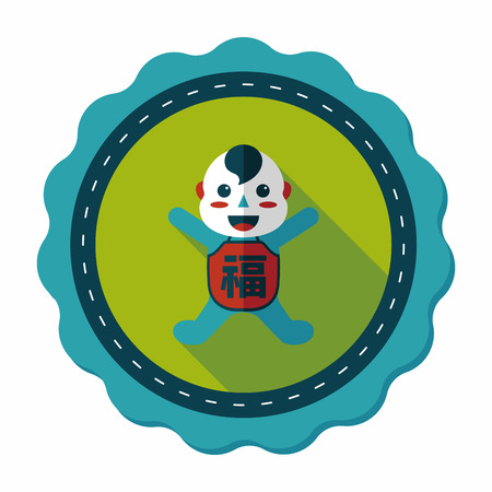 maitreya: Chinese New Year flat icon with long shadow,eps10, Maitreya doll decoration means Bless you have wealth, monasticism and popularity.