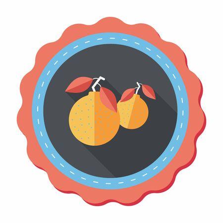 mandarin: Chinese New Year Mandarin Oranges flat icon wtih long shadow,eps10