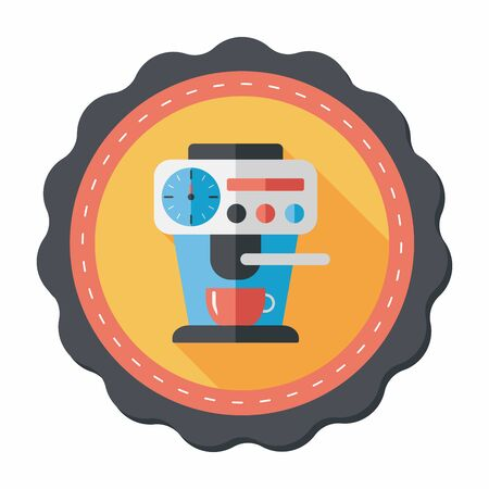 coffee machine: coffee machine flat icon with long shadow,eps10