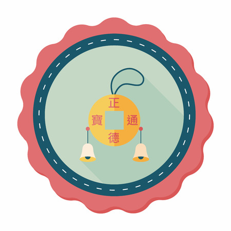 pendent: Chinese New Year flat icon with long shadow,eps10, Ancient Coins lucky pendant means  wish good luck and fortune comes. Illustration