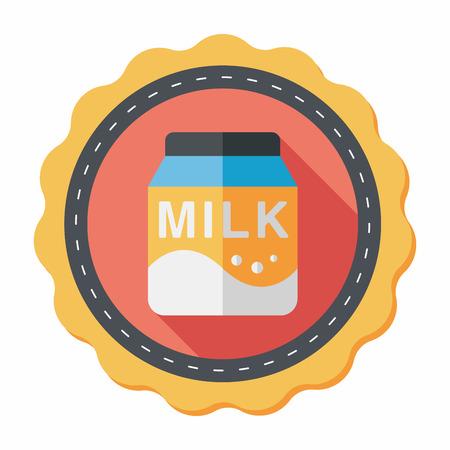 vacas lecheras: icono plana paquete de leche con una larga sombra, eps10