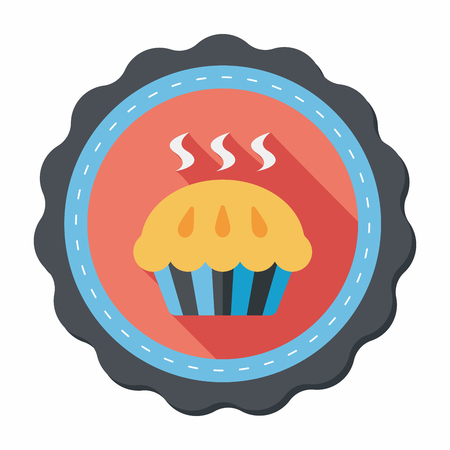apple pie: pie flat icon with long shadow,eps10 Illustration