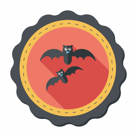 Halloween bat flat icon with long shadow,eps10 Illustration
