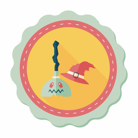 witch on broom: Witch broom flat icon with long shadow,eps10
