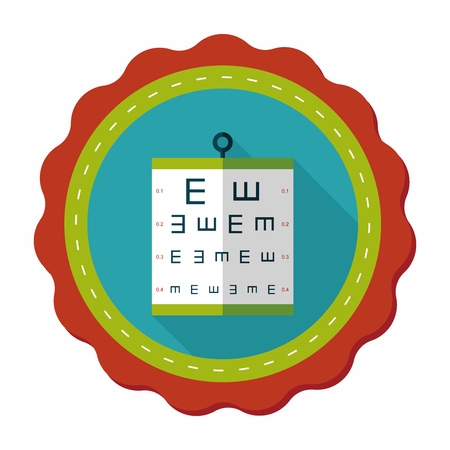 eye exams: eye test chart flat icon with long shadow,eps10