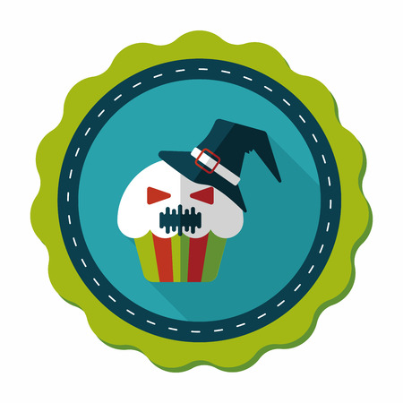 homemaking: Halloween cupcakes with ghost flat icon with long shadow,eps10