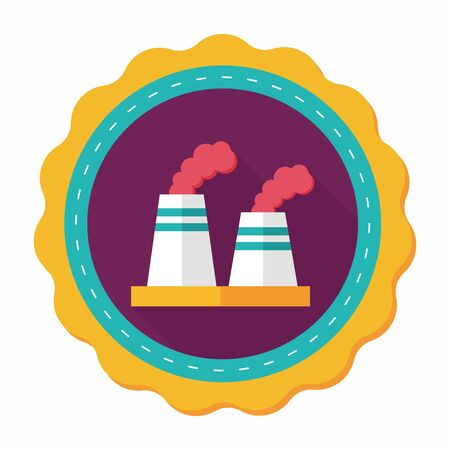 pollute: Environmental protection concept flat icon with long shadow,eps10; The factory do well on emission to not pollute the air and environment