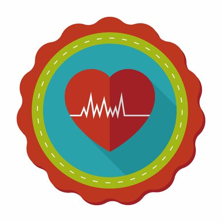 cardiograph: ECG flat icon with long shadows, eps10 Illustration