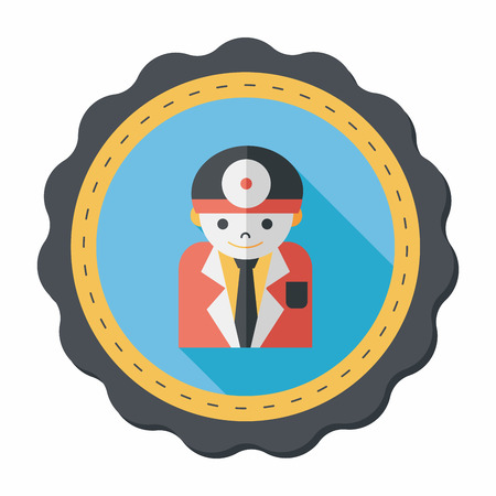 enfermera quirurgica: m�dico con estetoscopio icono plana con larga sombra, eps10