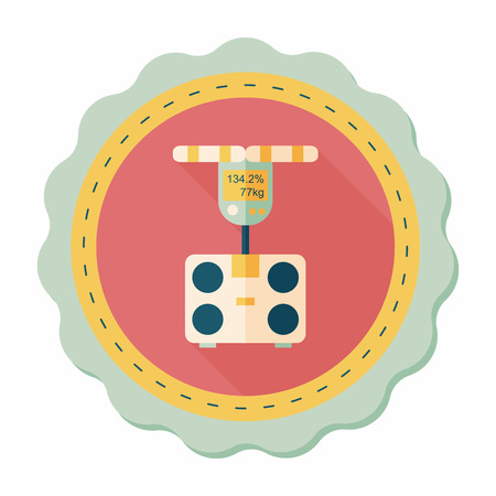 obsession: Weight scale flat icon with long shadow,eps10 Illustration