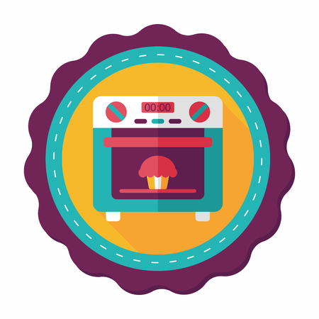 roaster: kitchenware oven flat icon with long shadow,eps10