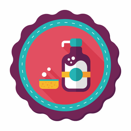 dish washing: kitchenware dish soap flat icon with long shadow,eps10 Illustration