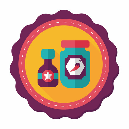 flavoring: kitchenware hot sauce flat icon with long shadow Illustration