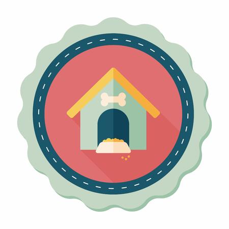 casa de perro: Pet perro de la casa icono plana con una larga sombra, eps10 Vectores