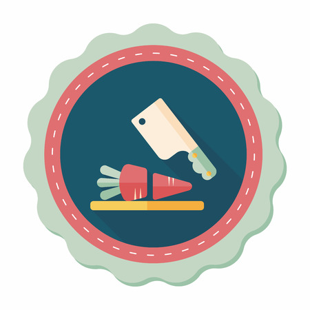chopping: kitchenware chopping board and knife flat icon with long shadow,eps10 Illustration