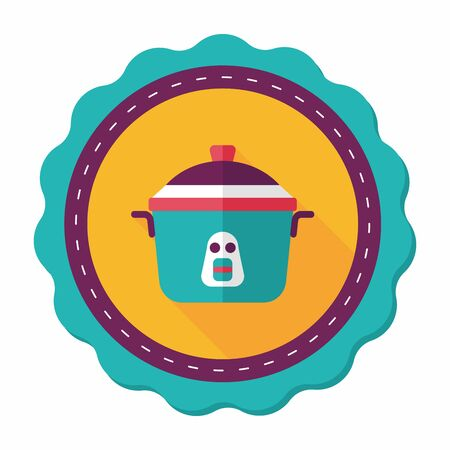 steam cooker: kitchenware rice cooker flat icon with long shadow,eps10 Illustration