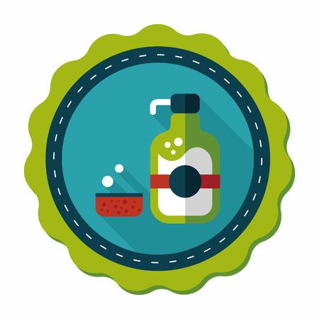 dish washing: stoviglie portasapone icona piatto con una lunga ombra, eps10