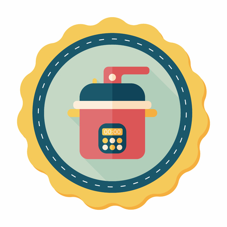 rice cooker: kitchenware rice cooker flat icon with long shadow,eps10 Illustration