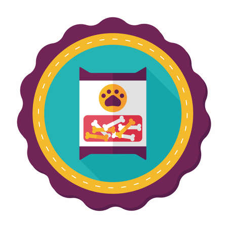 Icono plana mascotas paquete de comida para perros con una larga sombra, eps10