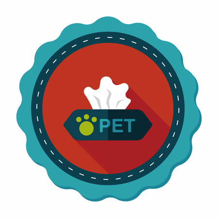 sneeze: Pet style tissue case flat icon with long shadow,eps10