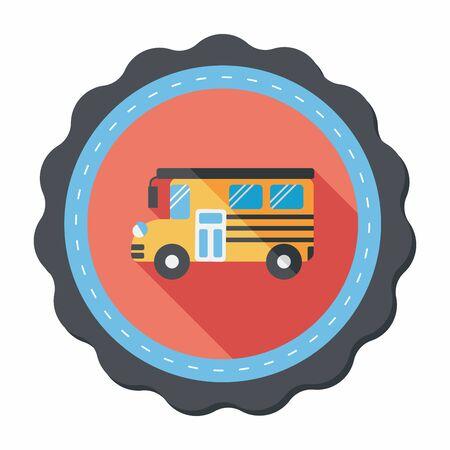 school bus: School Bus flat icon with long shadow,eps10