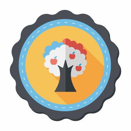 apfelbaum: Apfelbaum flach Symbol mit langen Schatten, eps10