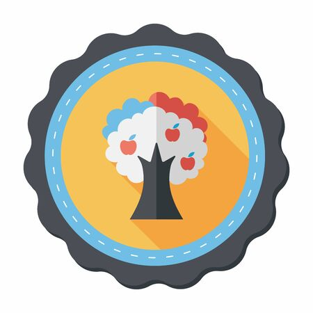 pine tree branch: apple tree flat icon with long shadow,eps10