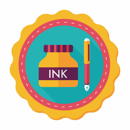 signing document: pen and  ink bottle flat icon with long shadow,eps10