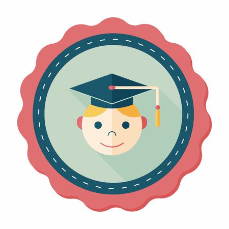 alumnus: Graduation Man flat icon with long shadow,eps10
