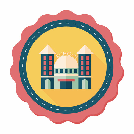 steeple: School building flat icon with long shadow,eps10
