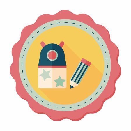 sharpener: Pencil sharpener flat icon with long shadow,eps10 Illustration