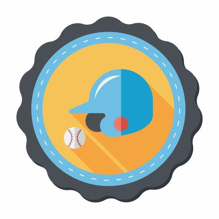 baseball helmet flat icon with long shadow,eps10 Vector