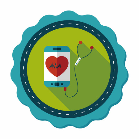 heart rate: heart rate sport equipment flat icon with long shadow,eps10