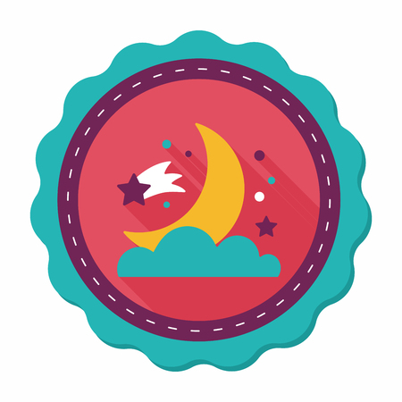 lunar phases: Space moon and star flat icon with long shadow,eps10