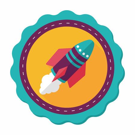 raumschiff: Spaceship Flach Symbol mit langen Schatten, eps10 Illustration