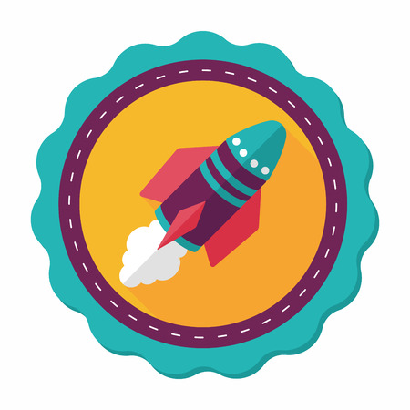 spaceship: Spaceship flat icon with long shadow,eps10 Illustration
